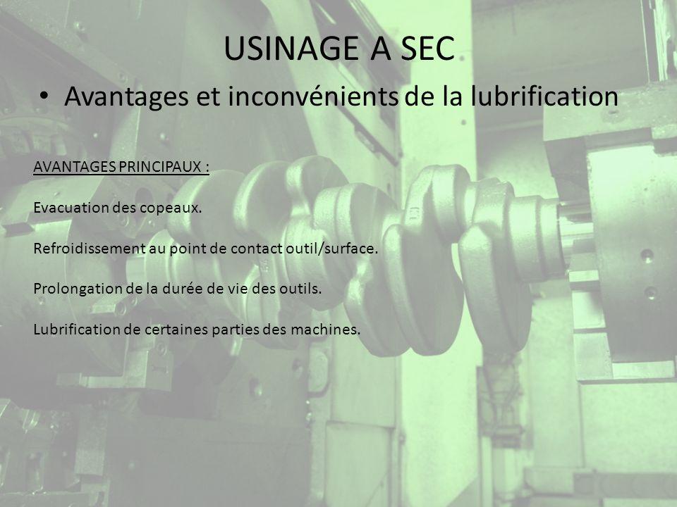 USINAGE A SEC Avantages et inconvénients de la lubrification INCONVENIENTS MAJEURS : Le marché des fluides de coupe représentait lan dernier, en France, 60000 t.