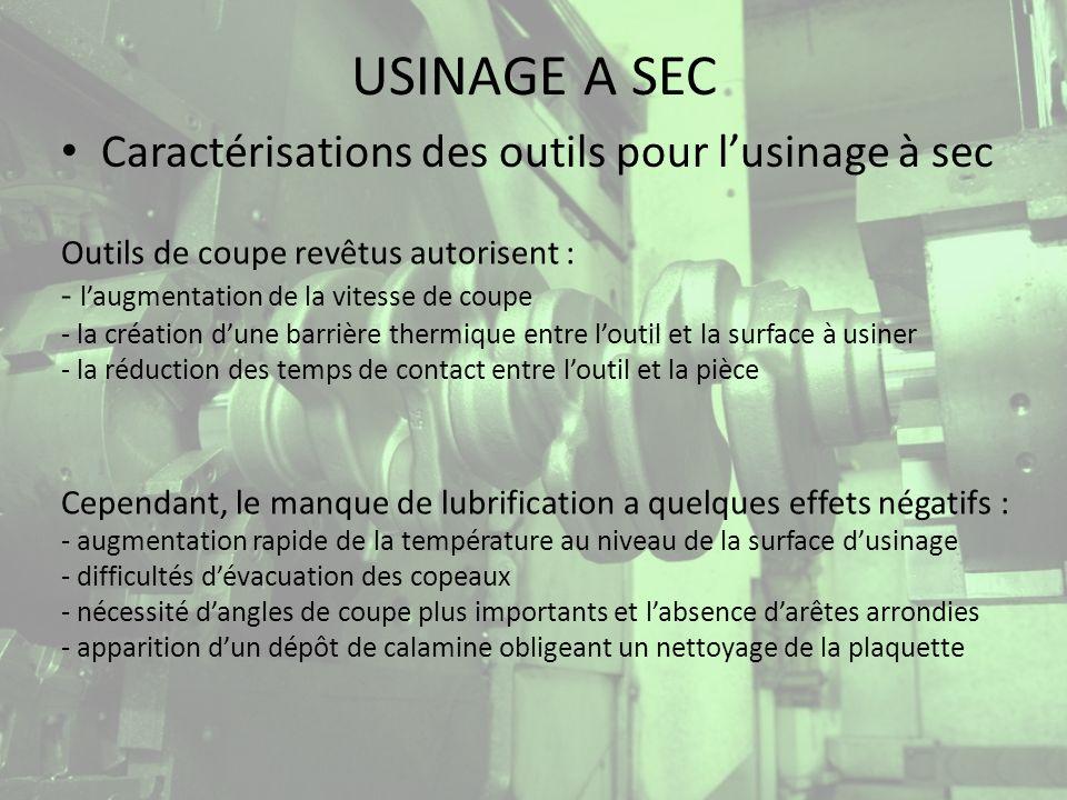 USINAGE A SEC Caractérisation des outils pour lusinage à sec Les plaquettes en cermets à base de carbonitrute de titane (résistance élevée à lusure) sont principalement utilisées, bien quun revêtement soit nécessaire.