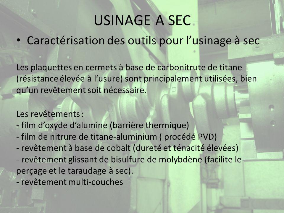 USINAGE A SEC Nouvelles technologies développées Système MAXICOOL -Une unité de refroidissement est intégrée dans loutil.