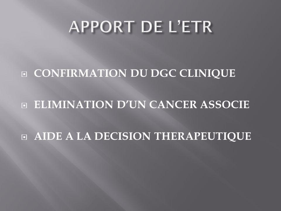 CONFIRMATION DU DGC CLINIQUE ELIMINATION DUN CANCER ASSOCIE AIDE A LA DECISION THERAPEUTIQUE