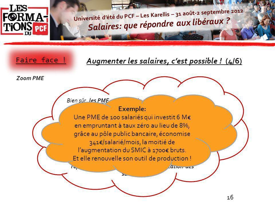 Université dété du PCF – Les Karellis – 31 août-2 septembre 2012 Salaires: que répondre aux libéraux ? 16 Bien sûr, les PME ont moins de moyens dassum
