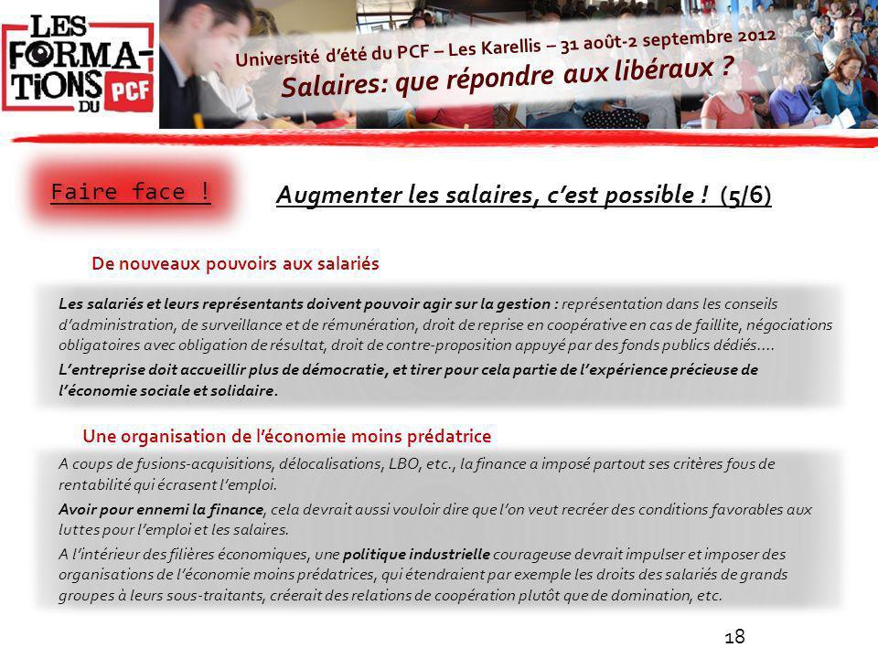 Université dété du PCF – Les Karellis – 31 août-2 septembre 2012 Salaires: que répondre aux libéraux ? A coups de fusions-acquisitions, délocalisation