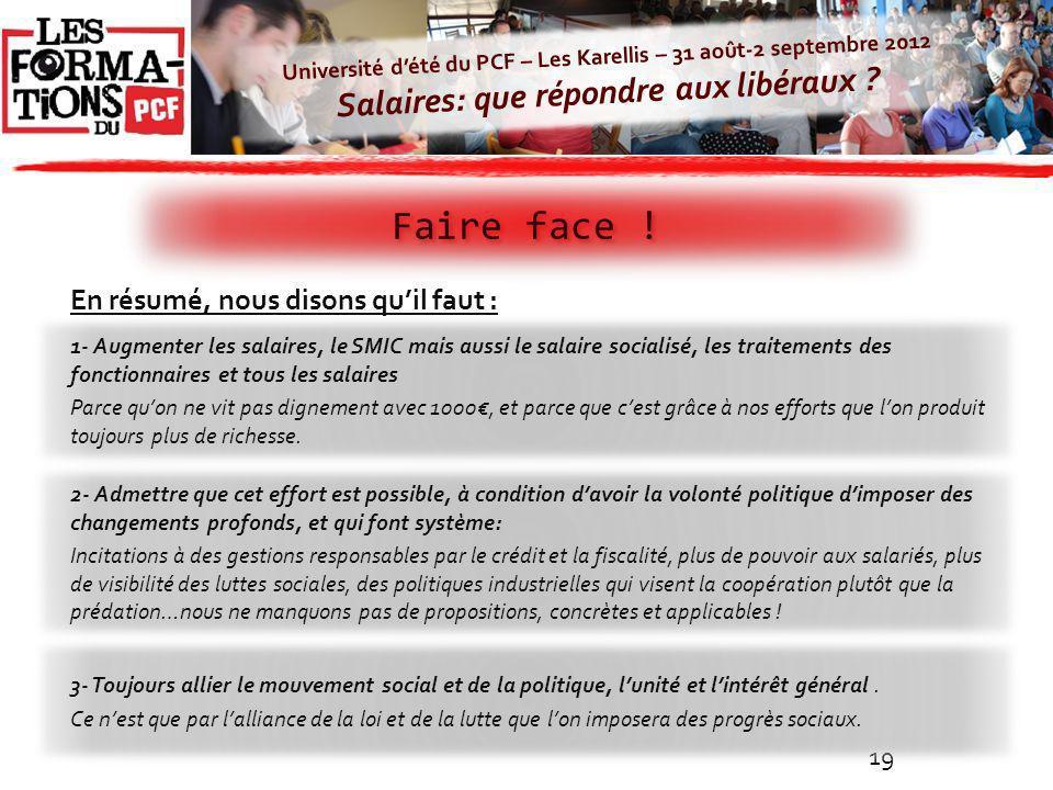 Université dété du PCF – Les Karellis – 31 août-2 septembre 2012 Salaires: que répondre aux libéraux ? Faire face ! 19 En résumé, nous disons quil fau