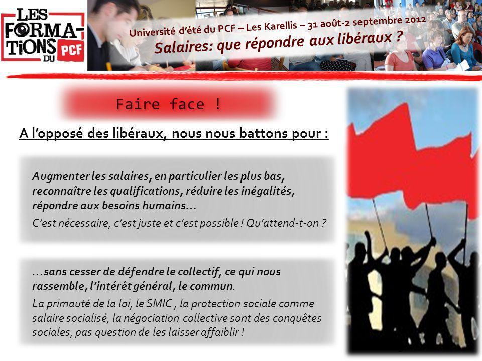 Université dété du PCF – Les Karellis – 31 août-2 septembre 2012 Salaires: que répondre aux libéraux ? Faire face ! 9 A lopposé des libéraux, nous nou