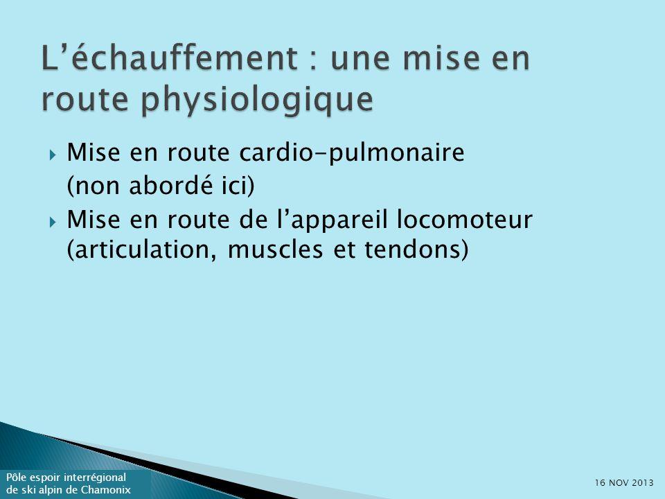 Pôle espoir interrégional de ski alpin de Chamonix Mise en route cardio-pulmonaire (non abordé ici) Mise en route de lappareil locomoteur (articulation, muscles et tendons) 16 NOV 2013