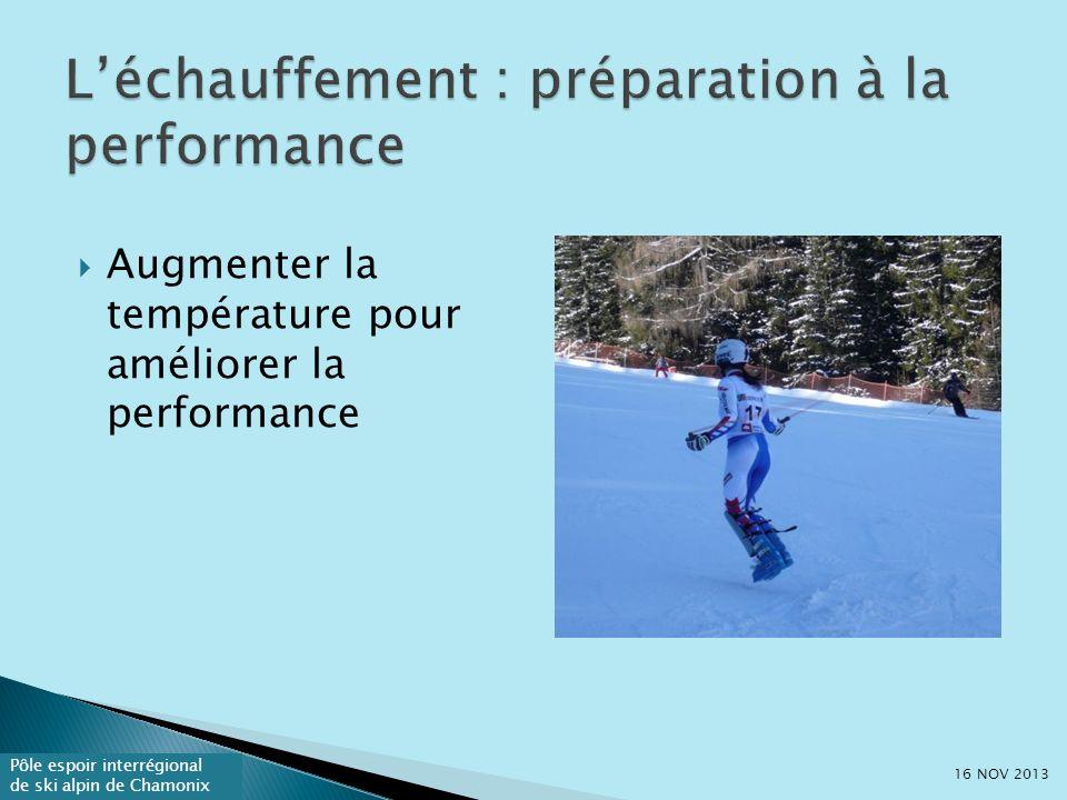Pôle espoir interrégional de ski alpin de Chamonix Augmenter la température pour améliorer la performance 16 NOV 2013