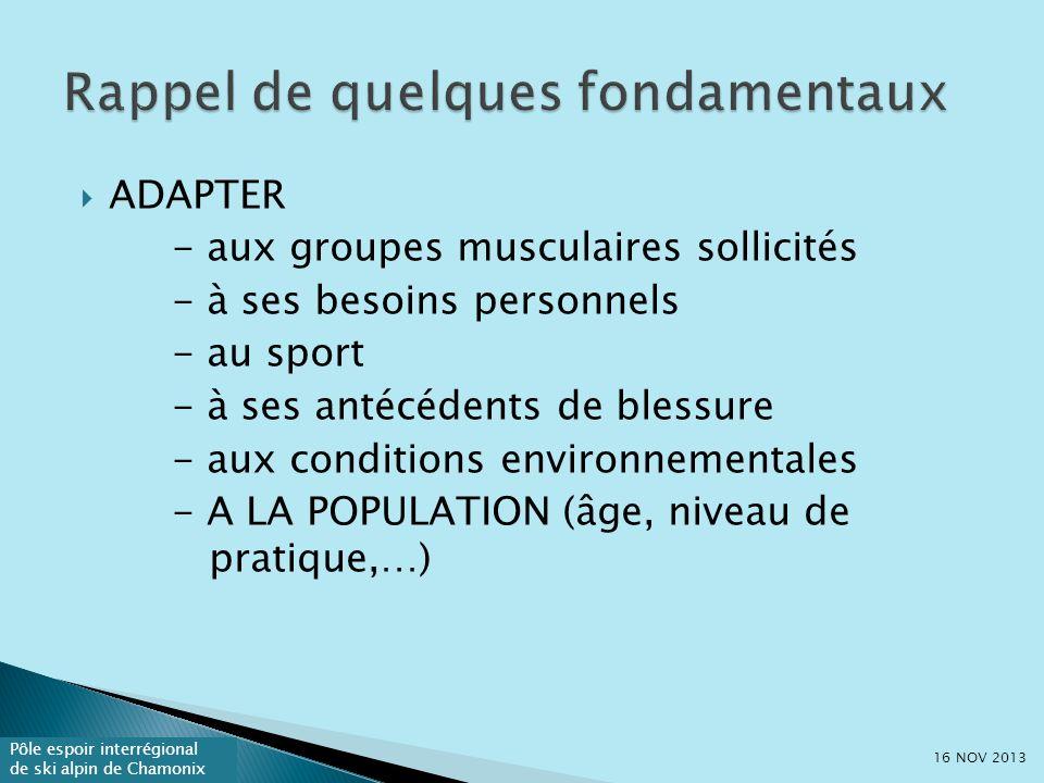 Pôle espoir interrégional de ski alpin de Chamonix ADAPTER - aux groupes musculaires sollicités - à ses besoins personnels - au sport - à ses antécédents de blessure - aux conditions environnementales - A LA POPULATION (âge, niveau de pratique,…) 16 NOV 2013