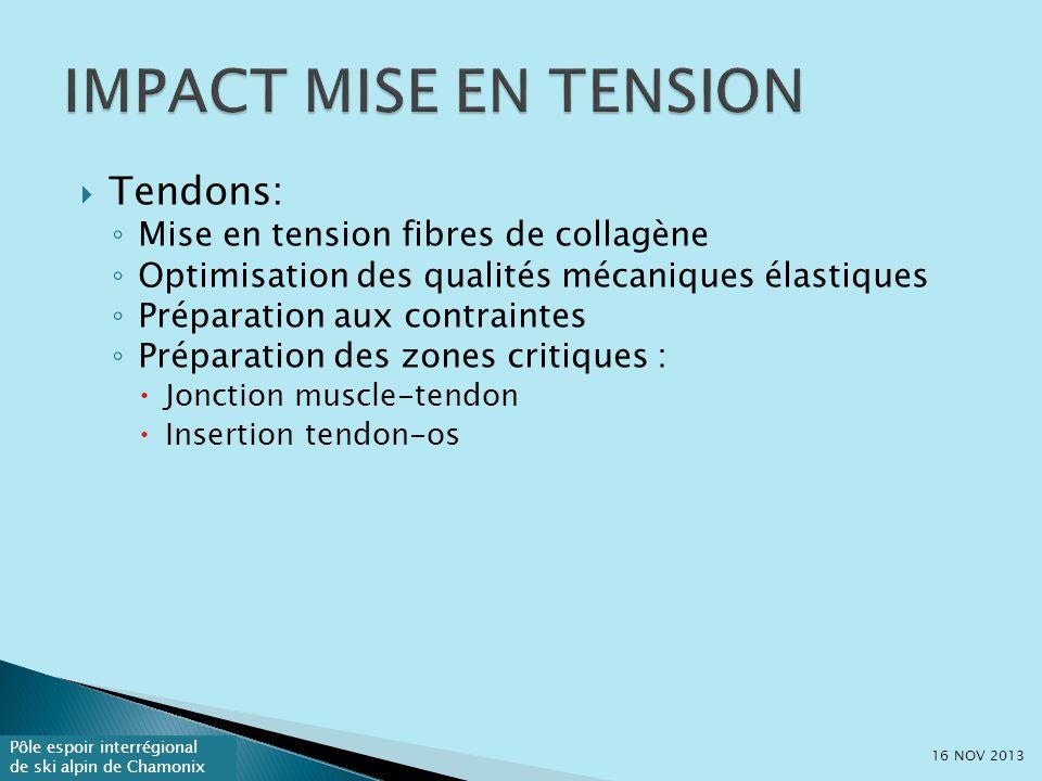 Pôle espoir interrégional de ski alpin de Chamonix Tendons: Mise en tension fibres de collagène Optimisation des qualités mécaniques élastiques Préparation aux contraintes Préparation des zones critiques : Jonction muscle-tendon Insertion tendon-os 16 NOV 2013