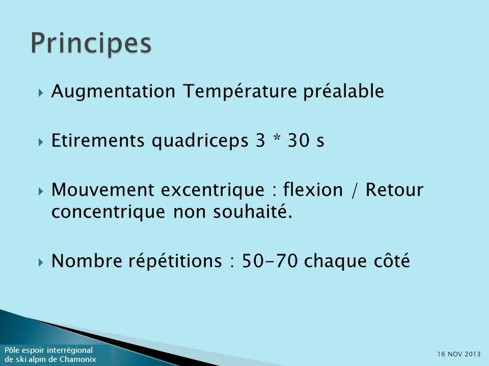 Pôle espoir interrégional de ski alpin de Chamonix Augmentation Température préalable Etirements quadriceps 3 * 30 s Mouvement excentrique : flexion / Retour concentrique non souhaité.