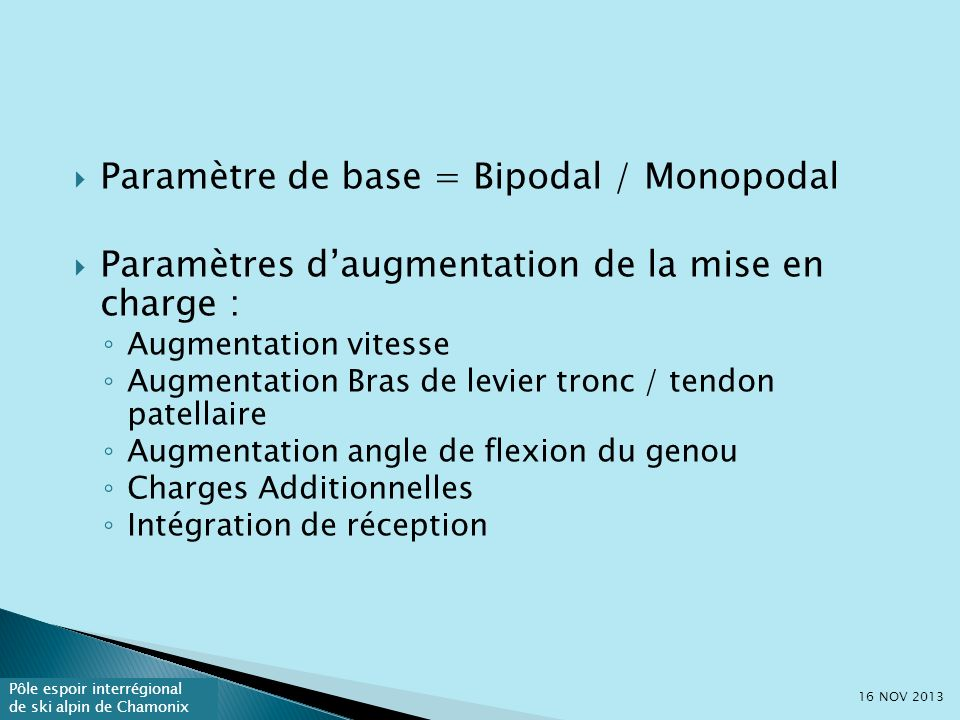 Pôle espoir interrégional de ski alpin de Chamonix Vitesse dinstallation : Lente : zone insertion plus ciblée (in Klein 2004) À Rapide : Zone mid-tendon plus ciblée (in Klein,2004) Augmente le niveau de MET 16 NOV 2013