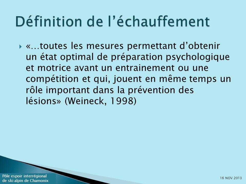 Pôle espoir interrégional de ski alpin de Chamonix «…toutes les mesures permettant dobtenir un état optimal de préparation psychologique et motrice avant un entrainement ou une compétition et qui, jouent en même temps un rôle important dans la prévention des lésions» (Weineck, 1998) 16 NOV 2013