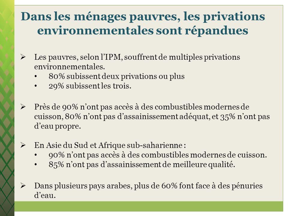 Dans les ménages pauvres, les privations environnementales sont répandues Les pauvres, selon lIPM, souffrent de multiples privations environnementales