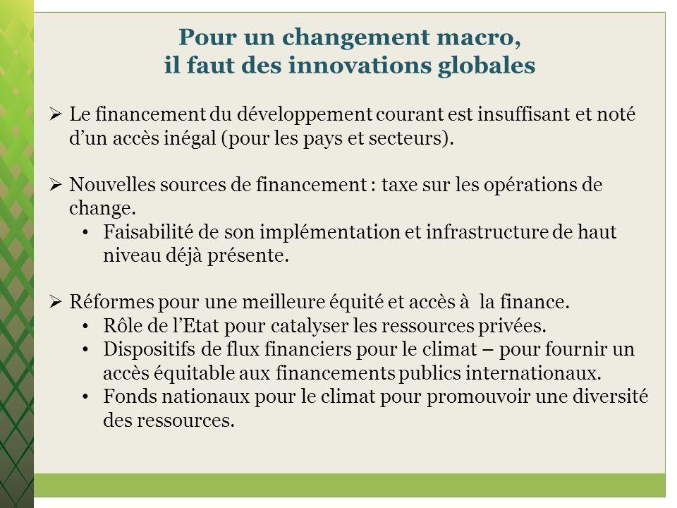 Pour un changement macro, il faut des innovations globales Le financement du développement courant est insuffisant et noté dun accès inégal (pour les
