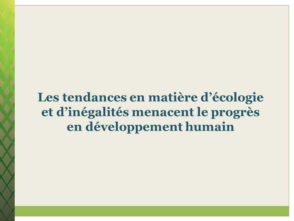 Les tendances en matière décologie et dinégalités menacent le progrès en développement humain