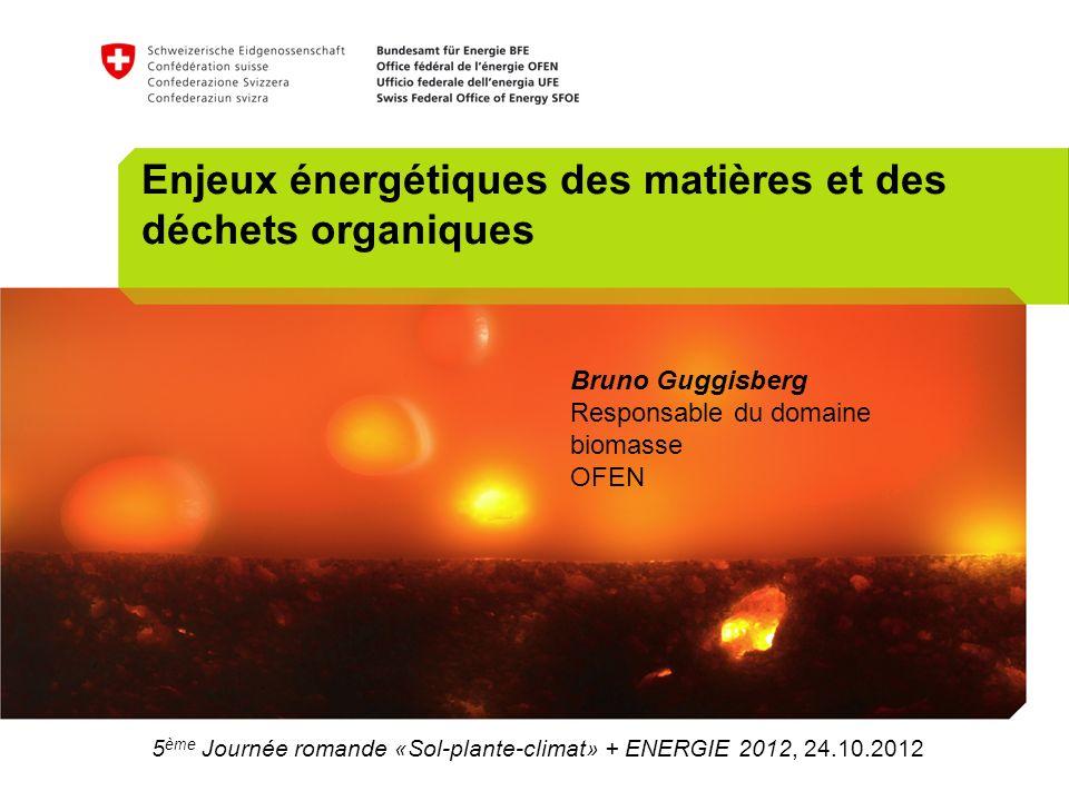 5 ème Journée romande «Sol-plante-climat» + ENERGIE 2012, 24.10.2012 Enjeux énergétiques des matières et des déchets organiques Bruno Guggisberg Responsable du domaine biomasse OFEN