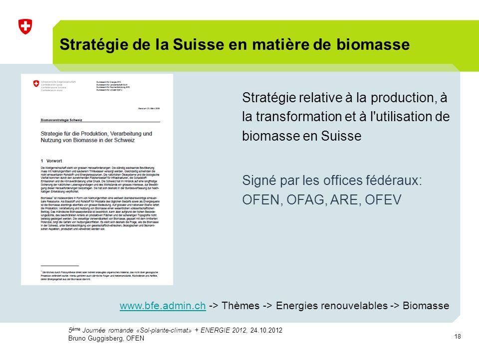 18 Stratégie de la Suisse en matière de biomasse Stratégie relative à la production, à la transformation et à l utilisation de biomasse en Suisse Signé par les offices fédéraux: OFEN, OFAG, ARE, OFEV www.bfe.admin.chwww.bfe.admin.ch -> Thèmes -> Energies renouvelables -> Biomasse 5 ème Journée romande «Sol-plante-climat» + ENERGIE 2012, 24.10.2012 Bruno Guggisberg, OFEN