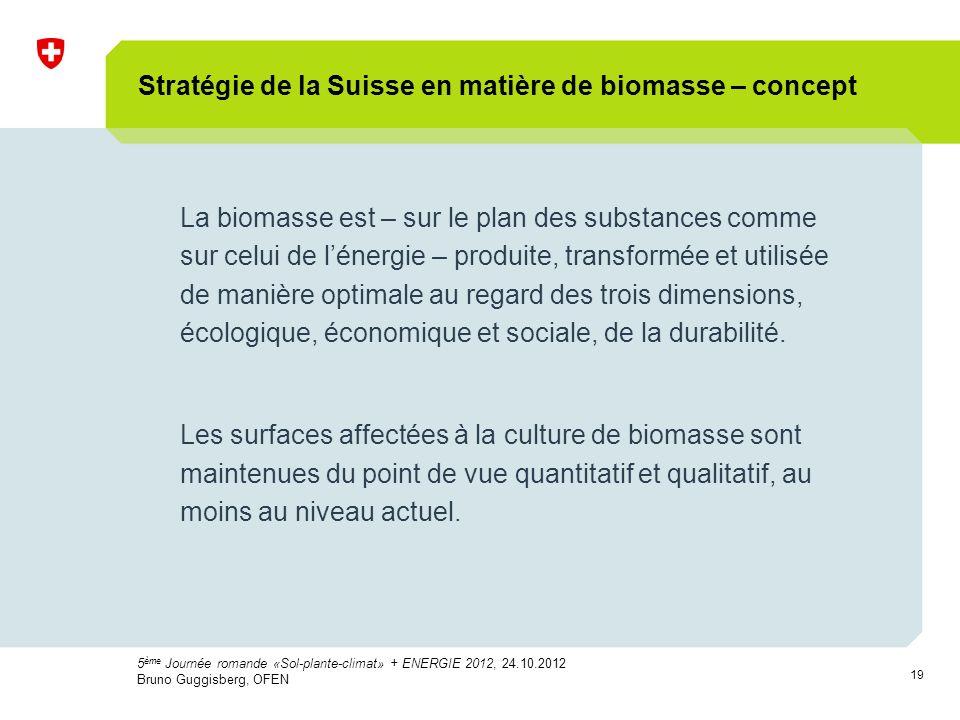 19 Stratégie de la Suisse en matière de biomasse – concept La biomasse est – sur le plan des substances comme sur celui de lénergie – produite, transformée et utilisée de manière optimale au regard des trois dimensions, écologique, économique et sociale, de la durabilité.