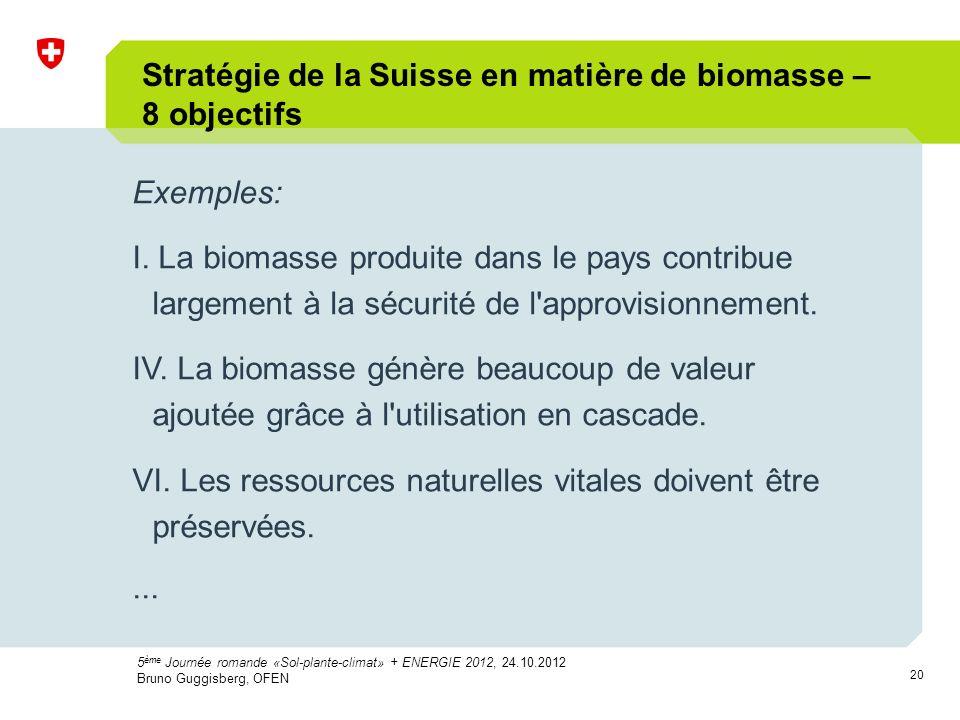 20 Exemples: I. La biomasse produite dans le pays contribue largement à la sécurité de l'approvisionnement. IV. La biomasse génère beaucoup de valeur