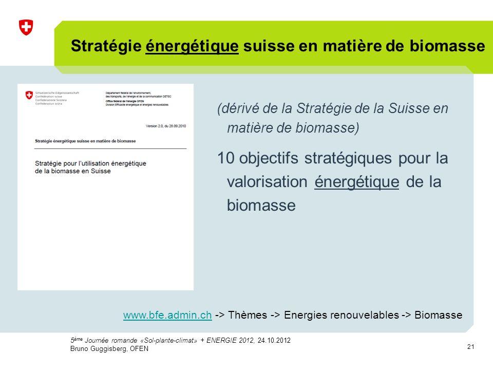 21 Stratégie énergétique suisse en matière de biomasse (dérivé de la Stratégie de la Suisse en matière de biomasse) 10 objectifs stratégiques pour la valorisation énergétique de la biomasse 5 ème Journée romande «Sol-plante-climat» + ENERGIE 2012, 24.10.2012 Bruno Guggisberg, OFEN www.bfe.admin.chwww.bfe.admin.ch -> Thèmes -> Energies renouvelables -> Biomasse