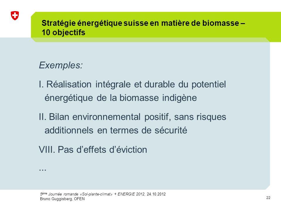 22 Exemples: I. Réalisation intégrale et durable du potentiel énergétique de la biomasse indigène II. Bilan environnemental positif, sans risques addi