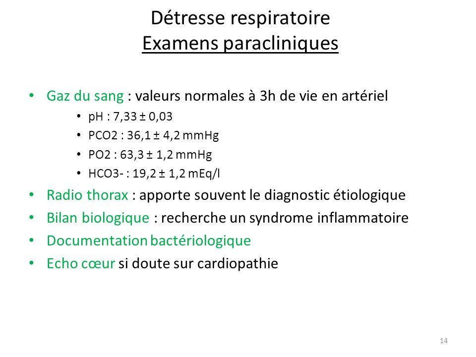 Détresse respiratoire Examens paracliniques Gaz du sang : valeurs normales à 3h de vie en artériel pH : 7,33 ± 0,03 PCO2 : 36,1 ± 4,2 mmHg PO2 : 63,3