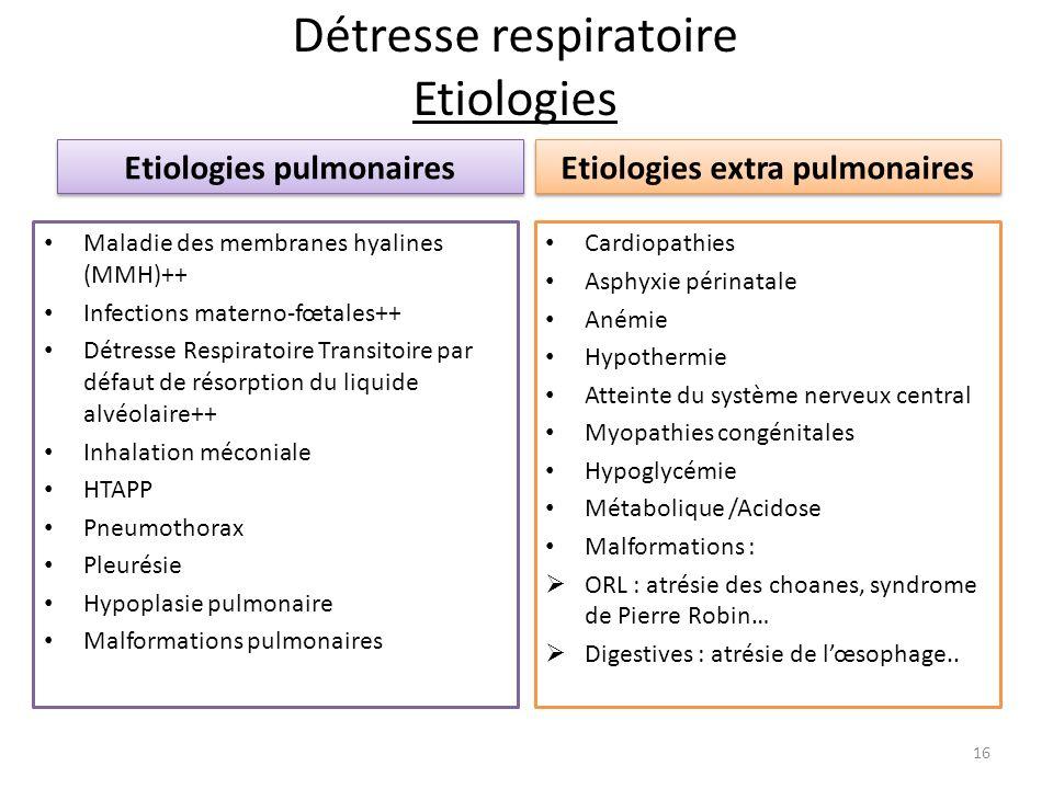Détresse respiratoire Etiologies Etiologies pulmonaires Maladie des membranes hyalines (MMH)++ Infections materno-fœtales++ Détresse Respiratoire Tran