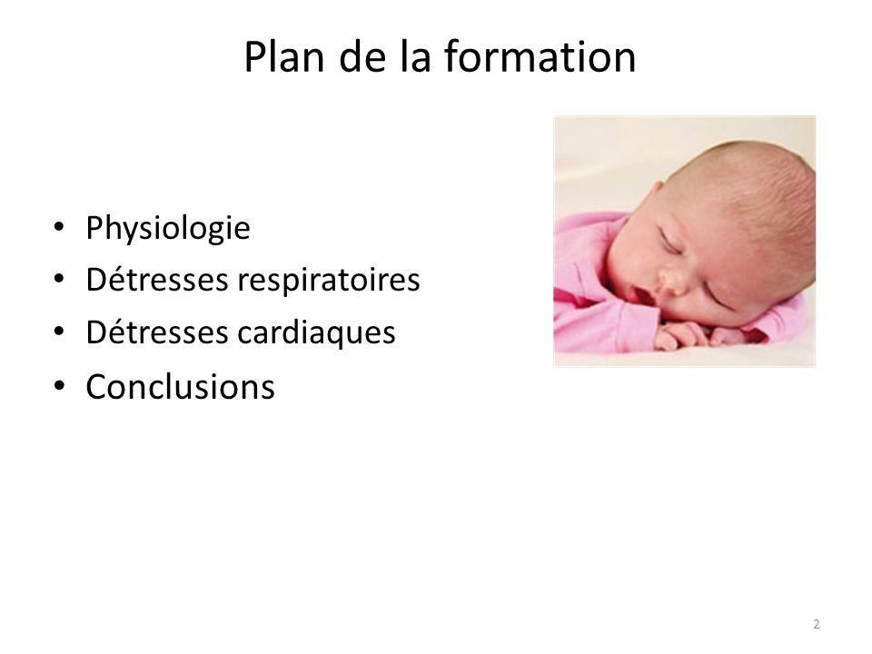 Plan de la formation Physiologie Détresses respiratoires Détresses cardiaques Conclusions 2