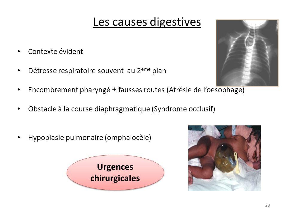 Les causes digestives Contexte évident Détresse respiratoire souvent au 2 ème plan Encombrement pharyngé ± fausses routes (Atrésie de loesophage) Obst