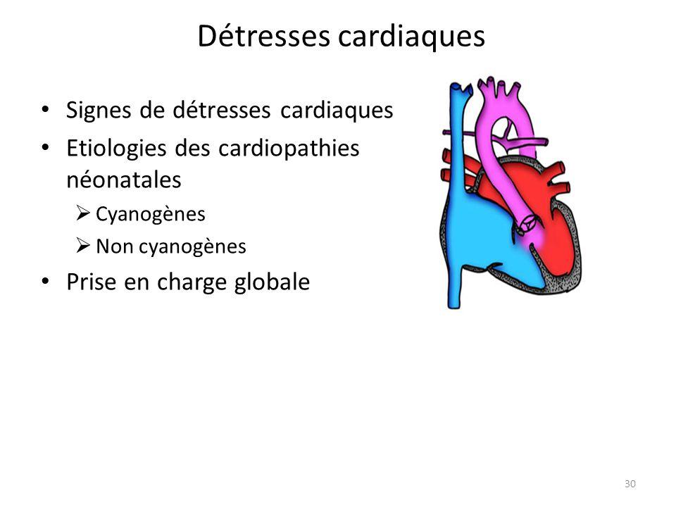 Détresses cardiaques Signes de détresses cardiaques Etiologies des cardiopathies néonatales Cyanogènes Non cyanogènes Prise en charge globale 30