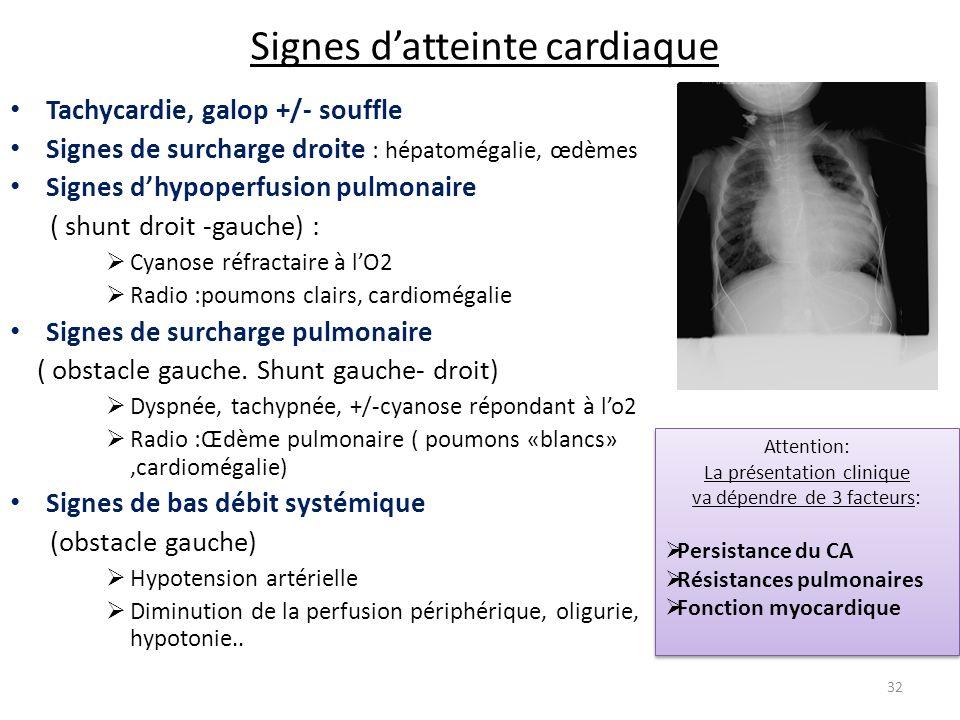 Signes datteinte cardiaque Tachycardie, galop +/- souffle Signes de surcharge droite : hépatomégalie, œdèmes Signes dhypoperfusion pulmonaire ( shunt