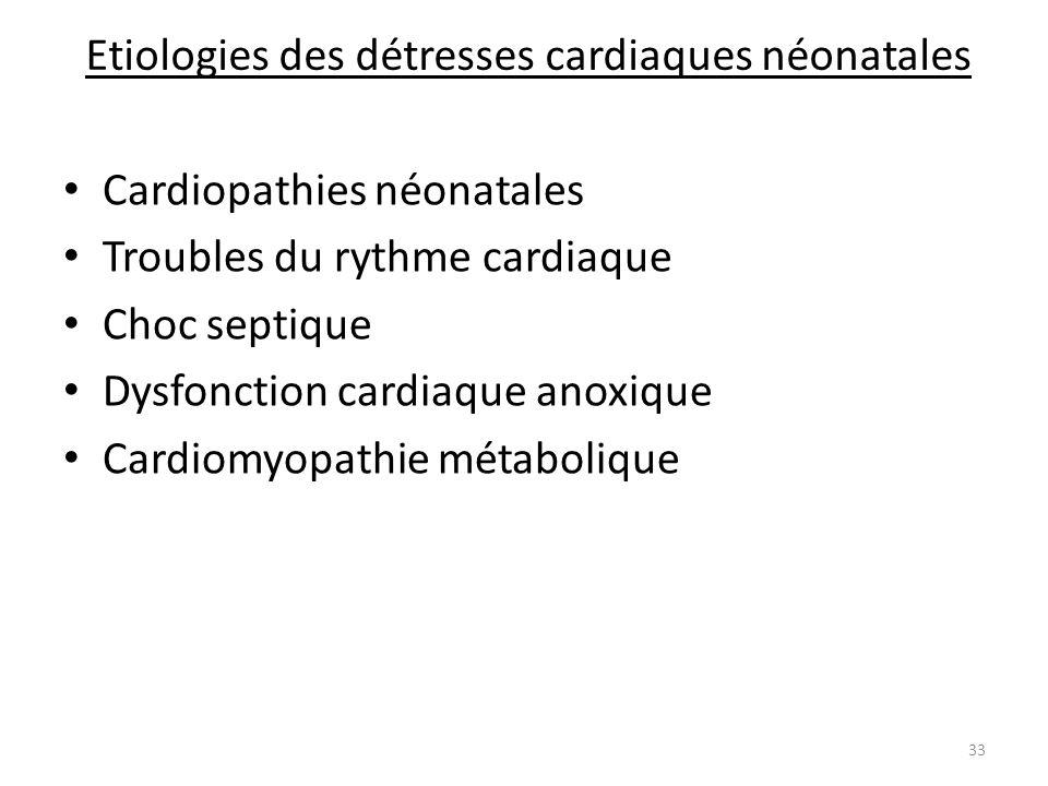 Etiologies des détresses cardiaques néonatales Cardiopathies néonatales Troubles du rythme cardiaque Choc septique Dysfonction cardiaque anoxique Card