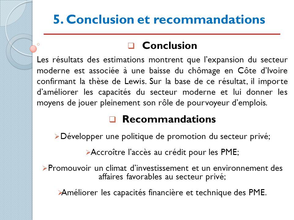 5. Conclusion et recommandations Conclusion Les résultats des estimations montrent que lexpansion du secteur moderne est associée à une baisse du chôm