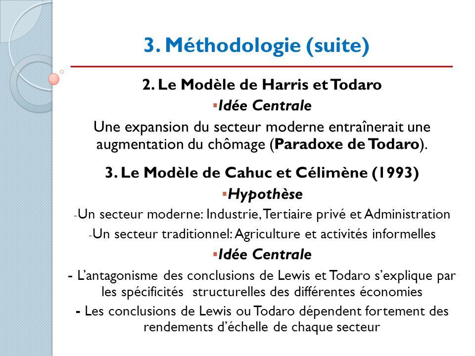 3. Méthodologie (suite) 2. Le Modèle de Harris et Todaro Idée Centrale Une expansion du secteur moderne entraînerait une augmentation du chômage (Para