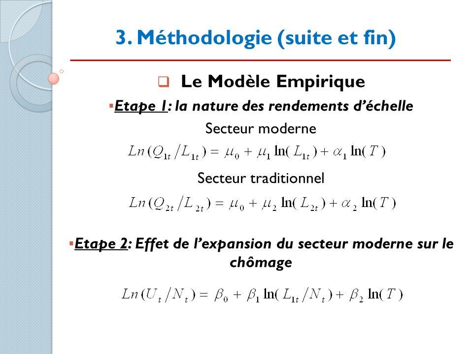 3. Méthodologie (suite et fin) Le Modèle Empirique Etape 1: la nature des rendements déchelle Secteur moderne Secteur traditionnel Etape 2: Effet de l