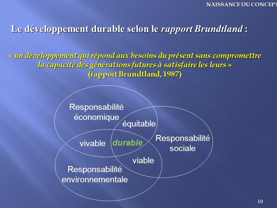 10 Le développement durable selon le rapport Brundtland : « un développement qui répond aux besoins du présent sans compromettre la capacité des génér