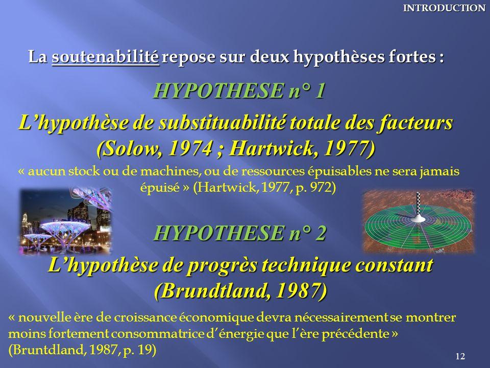 12INTRODUCTION La soutenabilité repose sur deux hypothèses fortes : HYPOTHESE n° 1 Lhypothèse de substituabilité totale des facteurs (Solow, 1974 ; Ha