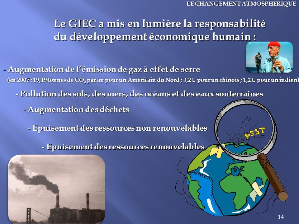 14 LE CHANGEMENT ATMOSPHERIQUE Le GIEC a mis en lumière la responsabilité du développement économique humain : - Augmentation de lémission de gaz à ef