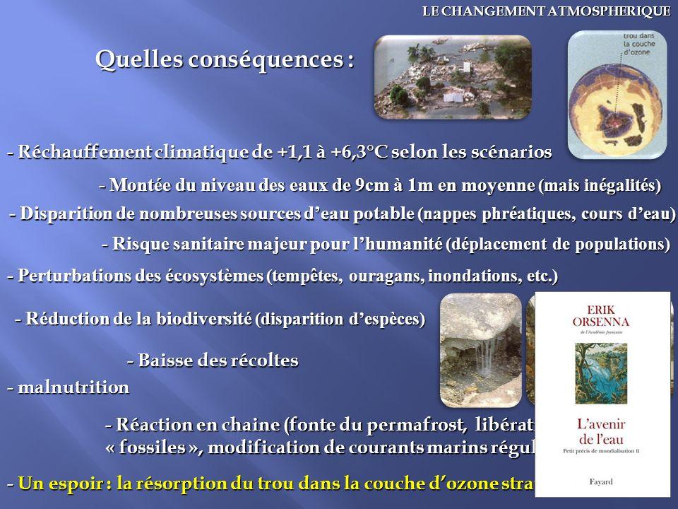 19 LE CHANGEMENT ATMOSPHERIQUE Quelles conséquences : - Réchauffement climatique de +1,1 à +6,3°C selon les scénarios - Montée du niveau des eaux de 9