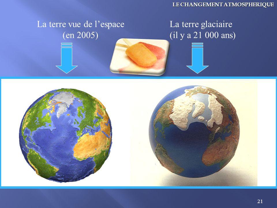 21 La terre vue de lespace (en 2005) La terre glaciaire (il y a 21 000 ans) LE CHANGEMENT ATMOSPHERIQUE