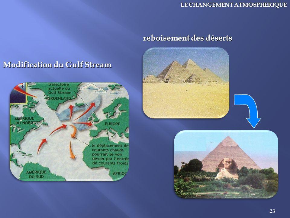23 LE CHANGEMENT ATMOSPHERIQUE Modification du Gulf Stream reboisement des déserts