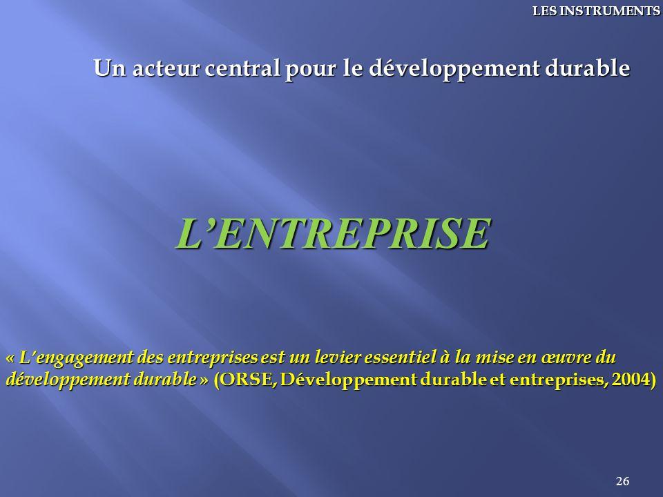 26 LES INSTRUMENTS Un acteur central pour le développement durable LENTREPRISE « Lengagement des entreprises est un levier essentiel à la mise en œuvr