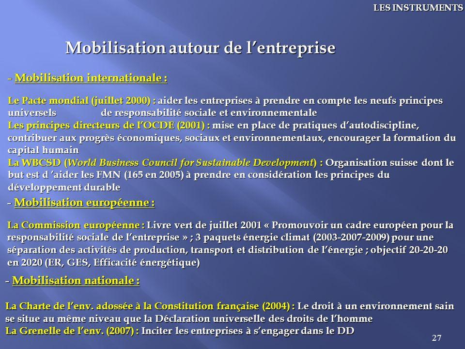 27 LES INSTRUMENTS Mobilisation autour de lentreprise - Mobilisation internationale : Le Pacte mondial (juillet 2000) : aider les entreprises à prendr