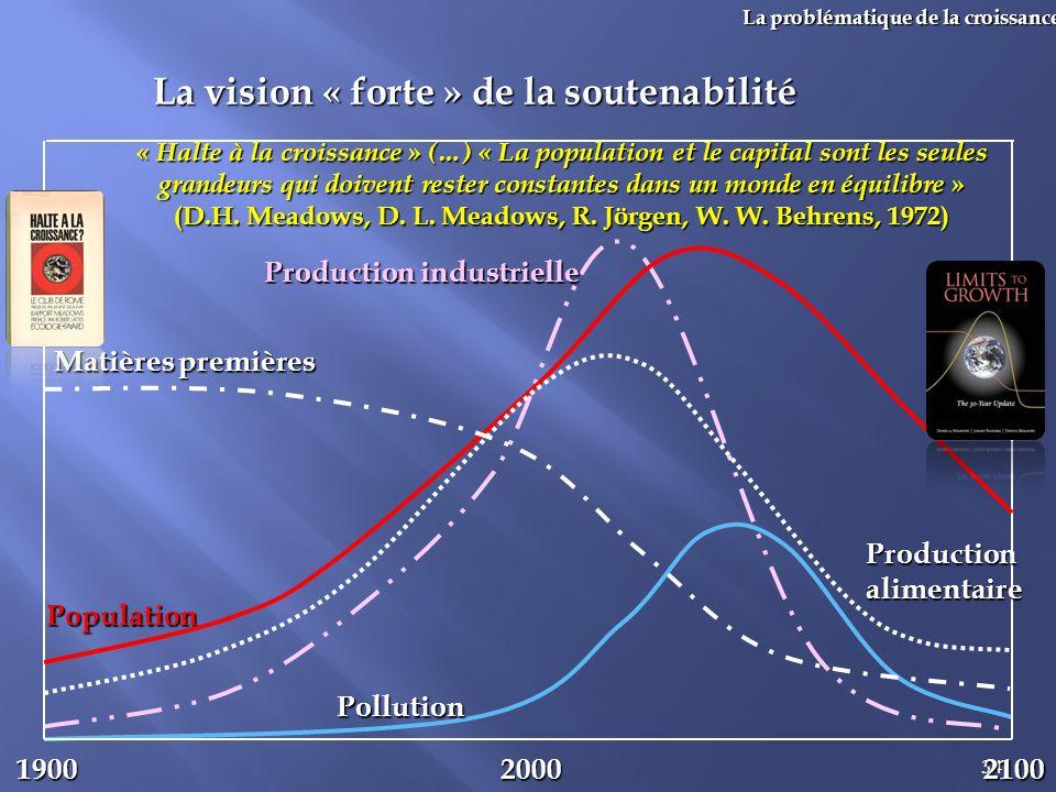 34 La problématique de la croissance La vision « forte » de la soutenabilité 1900 Population 20002100 Production industrielle Pollution Matières premi