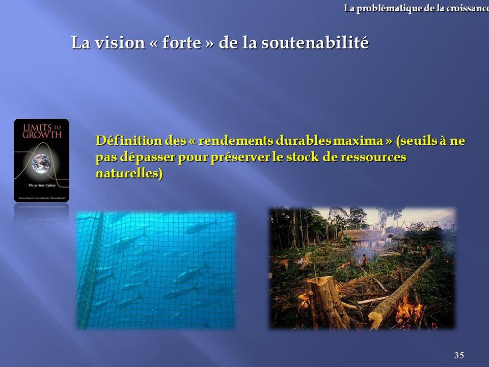 35 La problématique de la croissance La vision « forte » de la soutenabilité Définition des « rendements durables maxima » (seuils à ne pas dépasser p