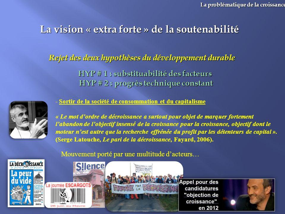 36 La problématique de la croissance La vision « extra forte » de la soutenabilité Rejet des deux hypothèses du développement durable HYP # 1 : substi