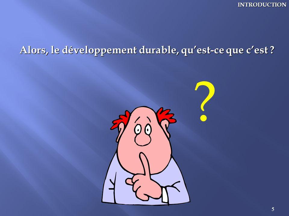 5INTRODUCTION Alors, le développement durable, quest-ce que cest ? ?