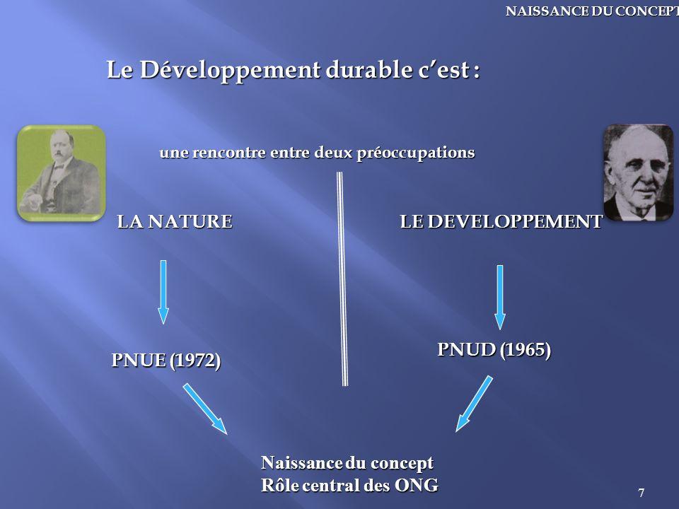 7 NAISSANCE DU CONCEPT Le Développement durable cest : une rencontre entre deux préoccupations LA NATURE LE DEVELOPPEMENT PNUD (1965) PNUE (1972) Nais
