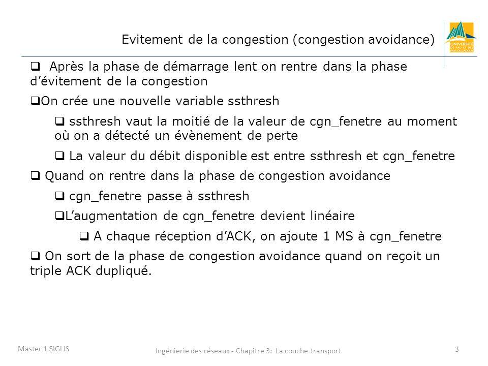 Ingénierie des réseaux - Chapitre 3: La couche transport 4 Master 1 SIGLIS Evitement de la congestion On utilise une nouvelle variable ssthresh « slow start threshold » ssthresh vaut cgn_fenetre / 2 Quand on passe dans la phase évitement de la congestion, on augmente cgn_fenetre de manière linéaire et non plus exponentielle.