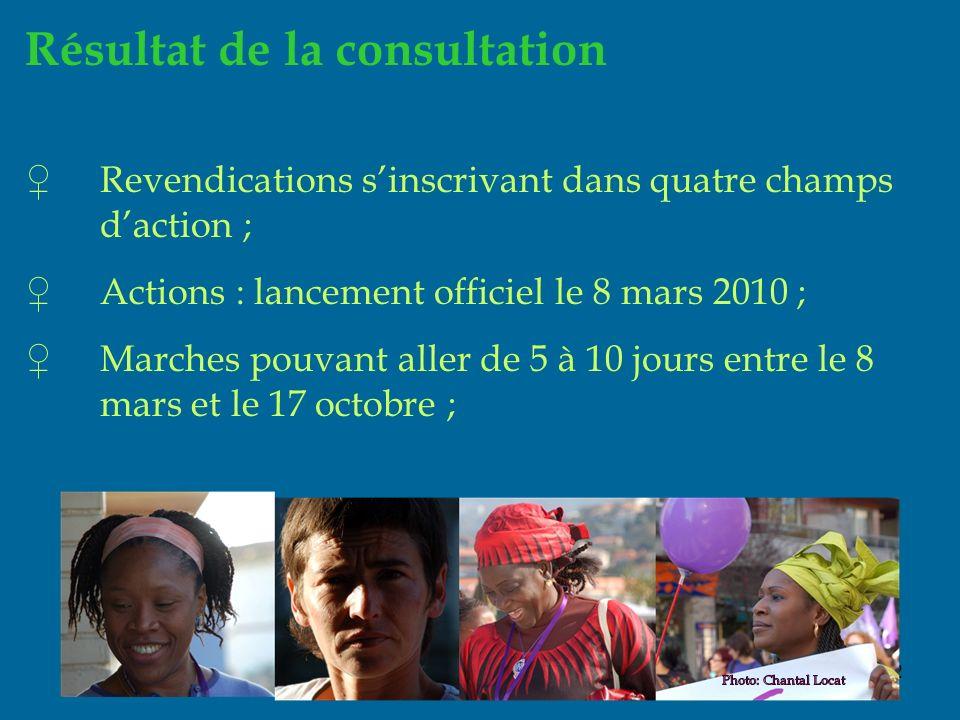 12 Résultat de la consultation Revendications sinscrivant dans quatre champs daction ; Actions : lancement officiel le 8 mars 2010 ; Marches pouvant aller de 5 à 10 jours entre le 8 mars et le 17 octobre ;