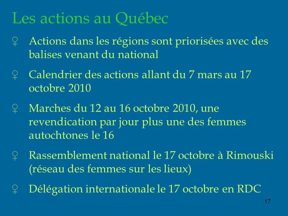 17 Les actions au Québec Actions dans les régions sont priorisées avec des balises venant du national Calendrier des actions allant du 7 mars au 17 oc